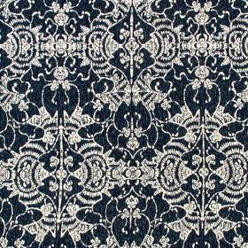 Mei Festival - Indigo - Very dark midnight blue and silvery white coloured 100% sunbrella acrylic fabric, with ornate, elegant patterns