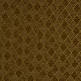 Romandie - Warm Cognac - Gold silk, cotton and acrylic blend fabric behind a design of rows of small, patterned chocolate brown coloured dia