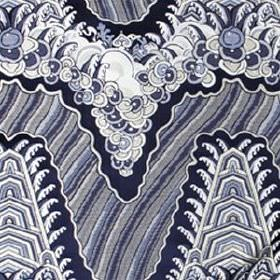 Silk Ocean - Navy - Detailed patterns, leaves and stripes covering silk and cotton blend fabric in white in dusky and dark shades of blue