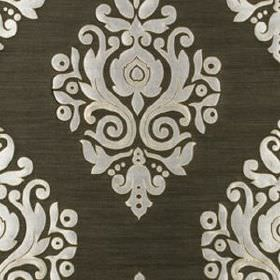 Nippon Frame - Dark Grey - Luxurious off-white coloured swirls and patterns on a battleship grey coloured 100% silk fabric background