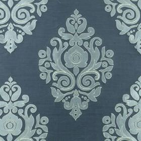Nippon Frame - Neptune - Denim blue coloured 100% silk fabric patterned with simple, elegant swirling designs in classic duck egg blue