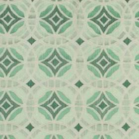 Perspective - Mint - Linen, silk and viscose blend fabric made in pale grey, jade and teal, printed with overlapping, concentric circles