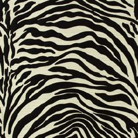 Kawa Zebra - Black - Zebra style black and white animal stripe style lines streaking across fabric made from 100% silk