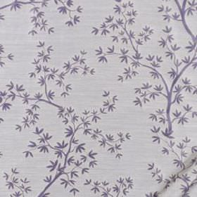 Kyoto Maple - Hyacinth - Tiny, delicate lilac-blue coloured leaves and thin branches scattered over very pale grey coloured 100% silk fabric