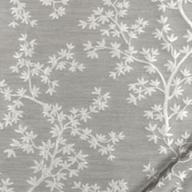 Kyoto Maple - Silver - Steel grey coloured 100% silk fabric scattered with small, delicate white leaves and thin branches