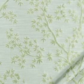 Kyoto Maple - Sky - Pale shades of green and blue making up a small, delicate leaf and thin branch design on fabric made from 100% silk