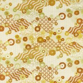 Sashiko - Mango - Abstract, retro style wavy lines and circles printed randomly on silk and linen blend fabric in caramel, gold and cream