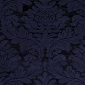 Hikaru Frame - Navy - Deep navy blue, large, slightly textured filigree style leaf patterns on viscose and silk blend fabric in a darker sha