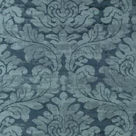 Hikaru Frame - Neptune - Light blue and dusky blue viscose and silk blend fabric, featuring large, slightly textured filigree style leaf des