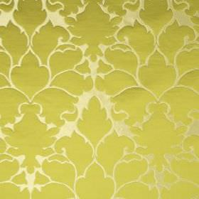 Blossom Frame - Chartreuse - Large, elegant lime green coloured patterns covering luxurious champagne coloured cotton and silk blend fabric