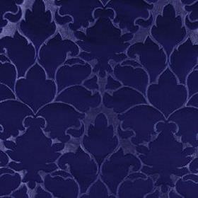 Blossom Frame - Navy - Luxurious deep midnight blue coloured patterns covering extravagant blue cotton and silk blend fabric