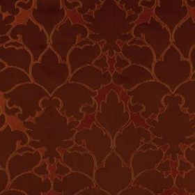 Blossom Frame - Scarlet - Large, elegant patterns covering cotton and silk blend fabric in rich, indulgent reddish brown and chocolate brown c