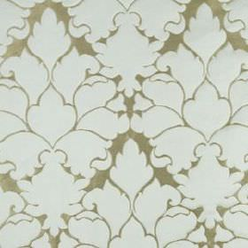 Blossom Frame - Sky - Cloud white coloured large, elegant patterns covering a beige-grey cotton and silk blend fabric background