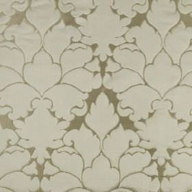 Blossom Frame - Sterling - Cotton and silk blend fabric featuring large, elegant patterns made in stone and putty colours