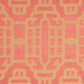 Silk Lantern - Coral - Nude and rose pink coloured cotton and silk blend fabric, with simple lines creating elegant industrial style designs