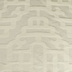 Silk Lantern - Travertine - Two similar shades of white making up a subtle, elegant pattern of smooth, curving lines on cotton and silk blen