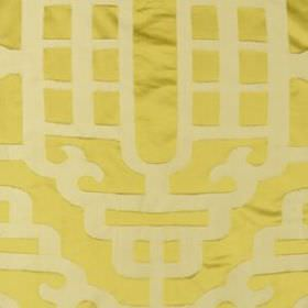 Silk Lantern - Yellow - Smooth, elegant, curving lines in cream patterning light yellow coloured fabric blended from cotton and silk