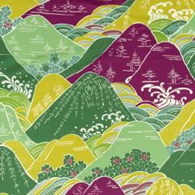 Fuji - Magenta - Oriental style hills and trees on cotton and silk blend fabric in white, rich purple and various vibrant shades of green