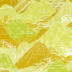 Fuji - Mango - Warm gold, lime green, white and creamy yellow coloured cotton and silk blend fabric, printed with Oriental style hills