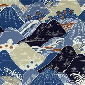 Fuji - Navy - Fabric made from cotton and silk, printed with Oriental style hills in rich brown, light grey and shades of blue