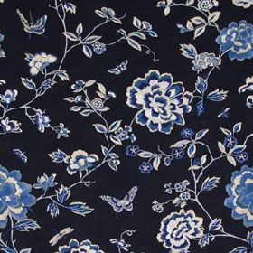 Peony King - Navy - Elegant blue, white and black coloured fabric blended from different materials, with a delicate, feminine floral pattern