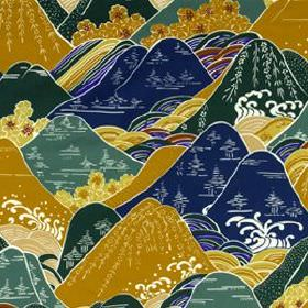 Fuji - Neptune - Cotton and silk blend fabric printed with Oriental style hills and trees in white, navy, teal, gold, cream and dark green