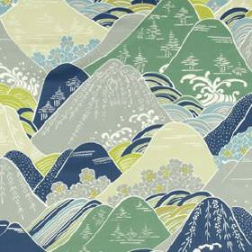 Fuji - Pacific - Fresh shades of blue, green and grey making up a cotton and silk blend fabric with an Oriental style hill print