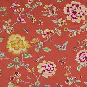 Peony King - Scarlet - Floral patterned fabric made from several materials in tomato red, with flowers and leaves in gold, cream and magenta