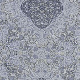 Vintage Vines - Navy - Various light shades of blue making up a silk and linen blend fabric featuring intricate, detailed patterns