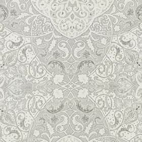 Vintage Vines - Silver - Silk and linen blend fabric covered with intricate, detailed patterns in two different pale shades of grey