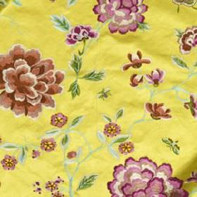 Peony King - Yellow - Light purple and rich brown coloured flowers with green leaves on a luxurious summery yellow blended fabric background