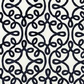 Michi Scroll - Navy - Striking black and white coloured linen, silk and viscose blend fabric featuring simple swirling line designs