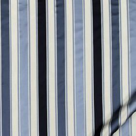Bourbon Stripe - Navy - White and various luxurious shades of blue making up striking, classic, sophisticated stripes on 100% silk fabric