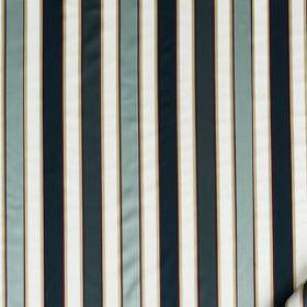 Bourbon Stripe - Neptune - White, midnight blue and icy blue coloured stripes creating an even, vertical design on fabric made from 100% sil