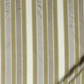 Bourbon Stripe - Silver - Fabric made from khaki-grey, silver-grey and white coloured 100% silk, featuring narrow, regular, vertical stripes