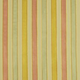 Bourbon Stripe - Topaz - Narrow, regular, vertical stripes running down 100% silk fabric in cream, seafoam, salmon pink and dark yellow