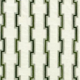 Hashi Fret - Forest - Angular iron grey and black lines running vertically down white fabric blended from various different materials