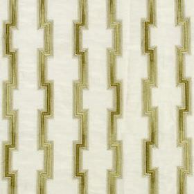 Hashi Fret - Honey - Various different materials blended together into a white fabric with angular vertical lines in a creamy pewter colour