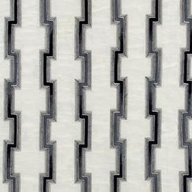 Hashi Fret - Navy - Dark blue-grey coloured angular lines on a background of fabric blended from several materials in crisp white