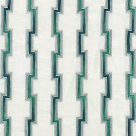 Hashi Fret - Neptune - Fabric blended from several materials in bright white, patterned with teal and midnight blue coloured angular lines