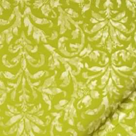 Hana Frame - Chartreuse - Patchily printed cream and beige coloured leaves on a background of lime green coloured silk and linen blend fabri