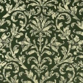 Hana Frame - Forest - Very dark green coloured silk and linen blend fabric featuring a patchily printed design of swirling cream and grey leav