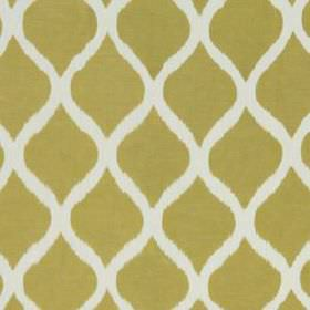 Biju Ikat - Chartreuse - A simple, sophisticated pattern created by wavy white lines on a rich gold linen and cotton blend fabric background