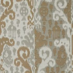 Cassia Ikat - Silver - Cotton and silk blend fabric patterned with stylish ethnic style designs in white, grey and light brown