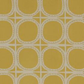 Lakai Suzani - Chartreuse - Gold circles printed with wiggly lines and a grid in putty and pale grey colours on cotton, linen and acrylic blen