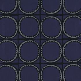 Lakai Suzani - Indigo - Cotton, linen and acrylic blend fabric patterned with circles, a grid and wavy lines in black, dark grey and navy bl