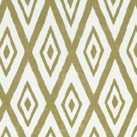 Lalu Ikat - Chartreuse - A simple pattern of khaki and white coloured concentric diamonds printed repeatedly on cotton and viscose blend fab