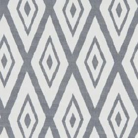 Lalu Ikat - Indigo - Cotton and viscose blend fabric printed repeatedly with large, concentric diamonds in steel grey and white