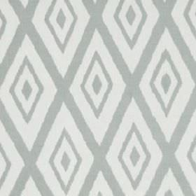 Lalu Ikat - Lagoon - Two light shades of grey making up a large, simple, concentric diamond pattern on fabric made from cotton and viscose