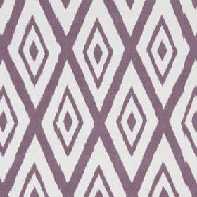 Lalu Ikat - Magenta - Fabric made from purple and white cotton and viscose, featuring large, repeated, concentric diamonds in a simple patte